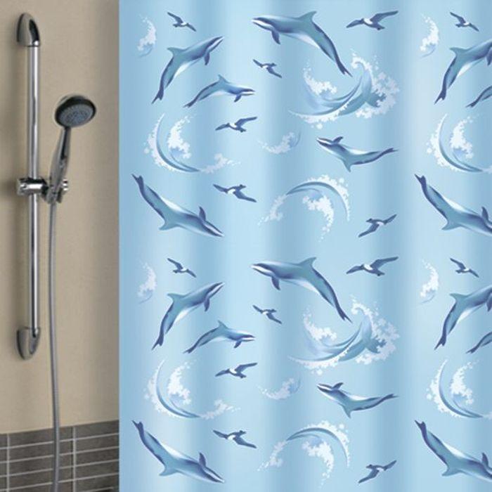 Штора для ванной Стар Экспо Дельфины, цвет: голубой, 180 х 180 см5918Влагонепроницаемая, надежная и практичная штора для ванной, выполненная из 100% ПВД. Толщина пленки 45 мкм. Штора имеет универсальный дизайн, со временем не выцветает, а рисунок не вымывается. Проста в эксплуатации. В комплекте предусмотрено 10 пластиковых колец. Изделие легко моется и быстро сохнет.