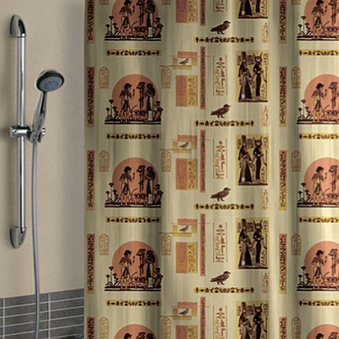 Штора для ванной Стар Экспо Египет, цвет: бежевый, оранжевый, 180 х 180 см5920Влагонепроницаемая, надежная и практичная штора для ванной, выполненная из 100% ПВД. Толщина пленки 45 мкм. Штора имеет универсальный дизайн, со временем не выцветает, а рисунок не вымывается. Проста в эксплуатации. В комплекте предусмотрено 10 пластиковых колец. Изделие легко моется и быстро сохнет.