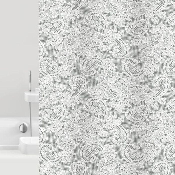 Штора для ванной Bacchetta Dantelle, цвет: серый, 180 х 200 см6031Текстильная штора для ванной в стильном дизайне от производителя с мировым именем Bacchetta. Выполнена штора из высококачественного полиэстера с водоотталкивающей и антибактериальной пропиткой, которая препятствует появлению на шторе плесени и других вредных грибков. Штора оснащена утяжелителем, который вшит по нижнему краю, и не позволяет шторе подниматься от потоков воздуха, создаваемых напором воды. Верхний край шторы усилен двойным подворотом ткани, люверсы для колец выполнены из пластика, это исключает появление ржавчины в помещении с повышенной влажностью, что часто встречается при использовании металлических деталей. Технология производства изделий отвечает новейшим европейским стандартам. Полотна отличаются высочайшими качественными характеристиками: высокими показателями износостойкости, цветостойкости и цветопередачи, прочности ткани на разрыв. Штора со временем не выцветает, а рисунок не вымывается. В комплекте со шторой предусмотрено 12 пластиковых колец. Допускается деликатная стирка при температуре не более 30 С, штора быстро сохнет.