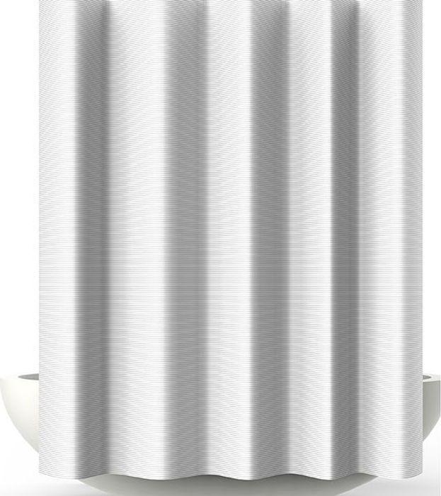 Штора для ванной Bacchetta Verga, цвет: белый, 180 х 200 см6033Текстильная штора для ванной в стильном дизайне от производителя с мировым именем Bacchetta. Выполнена штора из высококачественного полиэстера с водоотталкивающей и антибактериальной пропиткой, которая препятствует появлению на шторе плесени и других вредных грибков. Штора оснащена утяжелителем, который вшит по нижнему краю, и не позволяет шторе подниматься от потоков воздуха, создаваемых напором воды. Верхний край шторы усилен двойным подворотом ткани, люверсы для колец выполнены из пластика, это исключает появление ржавчины в помещении с повышенной влажностью, что часто встречается при использовании металлических деталей. Технология производства изделий отвечает новейшим европейским стандартам. Полотна отличаются высочайшими качественными характеристиками: высокими показателями износостойкости, цветостойкости и цветопередачи, прочности ткани на разрыв. Штора со временем не выцветает, а рисунок не вымывается. В комплекте со шторой предусмотрено 12 пластиковых колец. Допускается деликатная стирка при температуре не более 30 С, штора быстро сохнет.