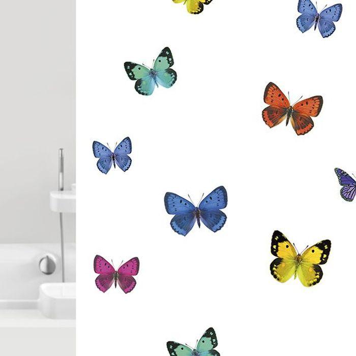 Штора для ванной Bacchetta Papillons, цвет: мультиколор, 180 х 200 см6036Текстильная штора для ванной в стильном дизайне от производителя с мировым именем Bacchetta. Выполнена штора из высококачественного полиэстера с водоотталкивающей и антибактериальной пропиткой, которая препятствует появлению на шторе плесени и других вредных грибков. Штора оснащена утяжелителем, который вшит по нижнему краю, и не позволяет шторе подниматься от потоков воздуха, создаваемых напором воды. Верхний край шторы усилен двойным подворотом ткани, люверсы для колец выполнены из пластика, это исключает появление ржавчины в помещение с повышенной влажностью, что часто встречается при использовании металлических деталей. Технология производства изделий отвечает новейшим европейским стандартам. Полотна отличаются высочайшими качественными характеристиками: высокими показателями износостойкости, цветостойкости и цветопередачи, прочности ткани на разрыв. Штора со временем не выцветает, а рисунок не вымывается. В комплекте со шторой предусмотрено 12 пластиковых колец. Допускается деликатная стирка при температуре не более 30 С, штора быстро сохнет.