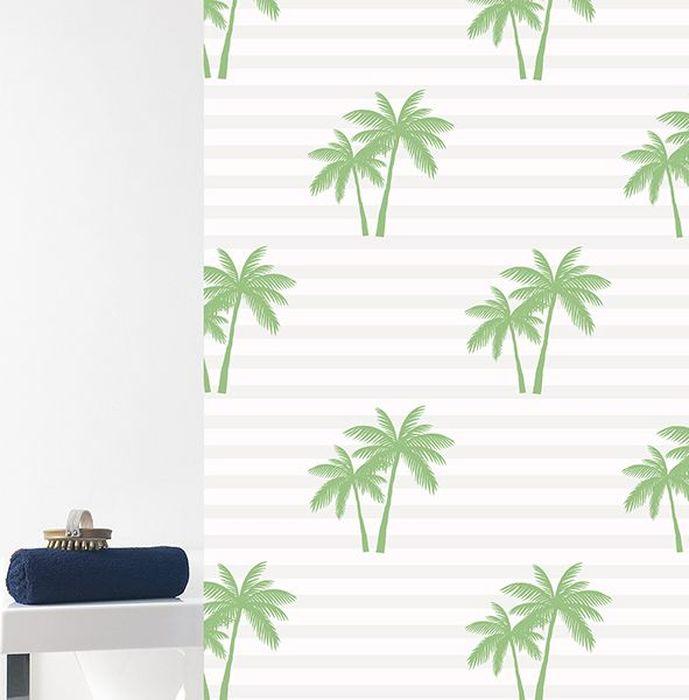 Штора для ванной Bacchetta Palme, цвет: белый, зеленый, 180 х 200 см6037Текстильная штора для ванной в стильном дизайне от производителя с мировым именем Bacchetta. Выполнена штора из высококачественного полиэстера с водоотталкивающей и антибактериальной пропиткой, которая препятствует появлению на шторе плесени и других вредных грибков. Штора оснащена утяжелителем, который вшит по нижнему краю, и не позволяет шторе подниматься от потоков воздуха, создаваемых напором воды. Верхний край шторы усилен двойным подворотом ткани, люверсы для колец выполнены из пластика, это исключает появление ржавчины в помещение с повышенной влажностью, что часто встречается при использовании металлических деталей. Технология производства изделий отвечает новейшим европейским стандартам. Полотна отличаются высочайшими качественными характеристиками: высокими показателями износостойкости, цветостойкости и цветопередачи, прочности ткани на разрыв. Штора со временем не выцветает, а рисунок не вымывается. В комплекте со шторой предусмотрено 12 пластиковых колец. Допускается деликатная стирка при температуре не более 30 С, штора быстро сохнет.