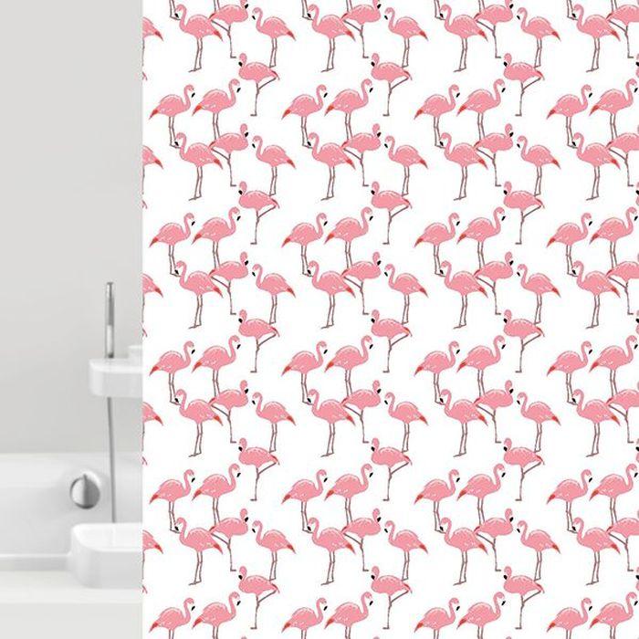 Штора для ванной Bacchetta Flamingo, цвет: белый, розовый, 180 х 200 см6038Текстильная штора для ванной Bacchetta - выполнена из высококачественного полиэстера с водоотталкивающей и антибактериальной пропиткой, которая препятствует появлению на шторе плесени и других вредных грибков. Штора оснащена утяжелителем, который вшит по нижнему краю, и не позволяет шторе подниматься от потоков воздуха, создаваемых напором воды. Верхний край шторы усилен двойным подворотом ткани, люверсы для колец выполнены из пластика, это исключает появление ржавчины в помещении с повышенной влажностью, что часто встречается при использовании металлических деталей. Технология производства изделий отвечает новейшим европейским стандартам. Полотна отличаются высочайшими качественными характеристиками: высокими показателями износостойкости, цветостойкости и цветопередачи, прочности ткани на разрыв. Штора со временем не выцветает, а рисунок не вымывается. В комплекте со шторой предусмотрено 12 пластиковых колец. Допускается деликатная стирка при температуре не более 30 С, штора быстро сохнет.