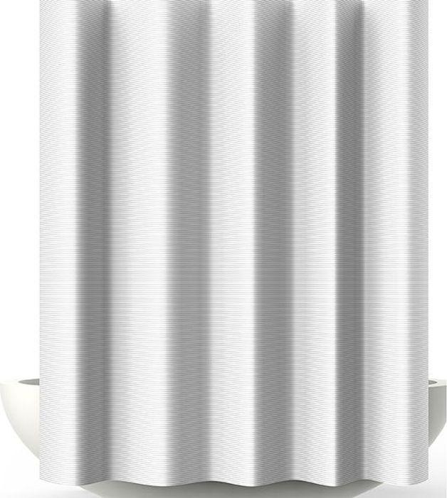 Штора для ванной Bacchetta Verga, цвет: белый, 240 х 200 см6040Текстильная штора для ванной в стильном дизайне от производителя с мировым именем Bacchetta. Выполнена штора из высококачественного полиэстера с водоотталкивающей и антибактериальной пропиткой, которая препятствует появлению на шторе плесени и других вредных грибков. Штора оснащена утяжелителем, который вшит по нижнему краю, и не позволяет шторе подниматься от потоков воздуха, создаваемых напором воды. Верхний край шторы усилен двойным подворотом ткани, люверсы для колец выполнены из пластика, это исключает появление ржавчины в помещении с повышенной влажностью, что часто встречается при использовании металлических деталей. Технология производства изделий отвечает новейшим европейским стандартам. Полотна отличаются высочайшими качественными характеристиками: высокими показателями износостойкости, цветостойкости и цветопередачи, прочности ткани на разрыв. Штора со временем не выцветает, а рисунок не вымывается. В комплекте со шторой предусмотрено 12 пластиковых колец. Допускается деликатная стирка при температуре не более 30 С, штора быстро сохнет.