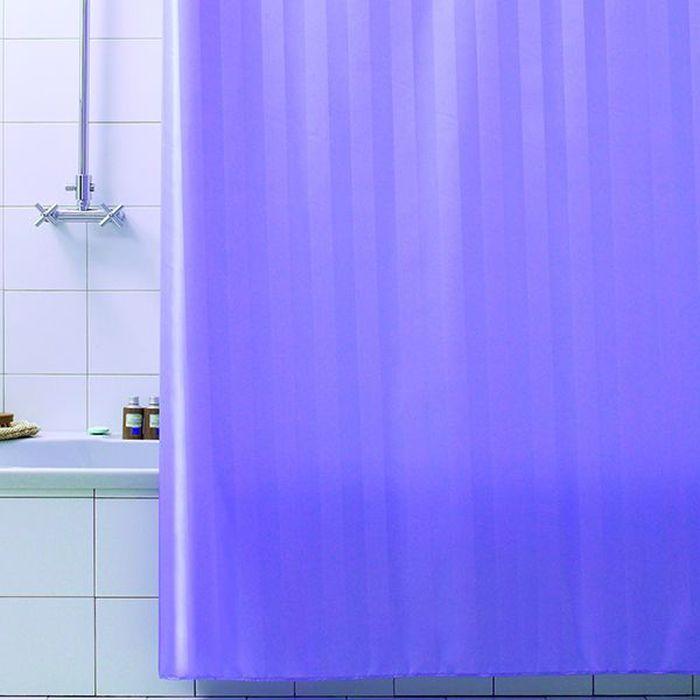 Штора для ванной Bacchetta Rigone, цвет: лиловый, 240 х 200 см6042Текстильная штора для ванной Rigone в универсальном дизайне от производителя с мировым именем Bacchetta. Выполнена штора из высококачественного полиэстера в белом цвете с жаккардовым рисунком, который формируется за счет изменения направления нитей, поэтому достигается эффект шелкового перелива одних элементов рисунка и матовость других. Штора имеет водоотталкивающую и антибактериальную пропитку, которая препятствует появлению на шторе плесени и других вредных грибков. Штора оснащена утяжелителем, который вшит по нижнему краю, и не позволяет шторе подниматься от потоков воздуха, создаваемых напором воды. Верхний край шторы усилен двойным подворотом ткани, люверсы для колец выполнены из пластика, это исключает появление ржавчины в помещении с повышенной влажностью, что часто встречается при использовании металлических деталей. Технология производства изделий отвечает новейшим европейским стандартам. Полотна отличаются высочайшими качественными характеристиками: высокими показателями износостойкости, цветостойкости и цветопередачи, прочности ткани на разрыв. Штора со временем не выцветает, а рисунок не вымывается.В комплекте со шторой предусмотрено 12 пластиковых колец.Допускается деликатная стирка при температуре не более 30 С, штора быстро сохнет.
