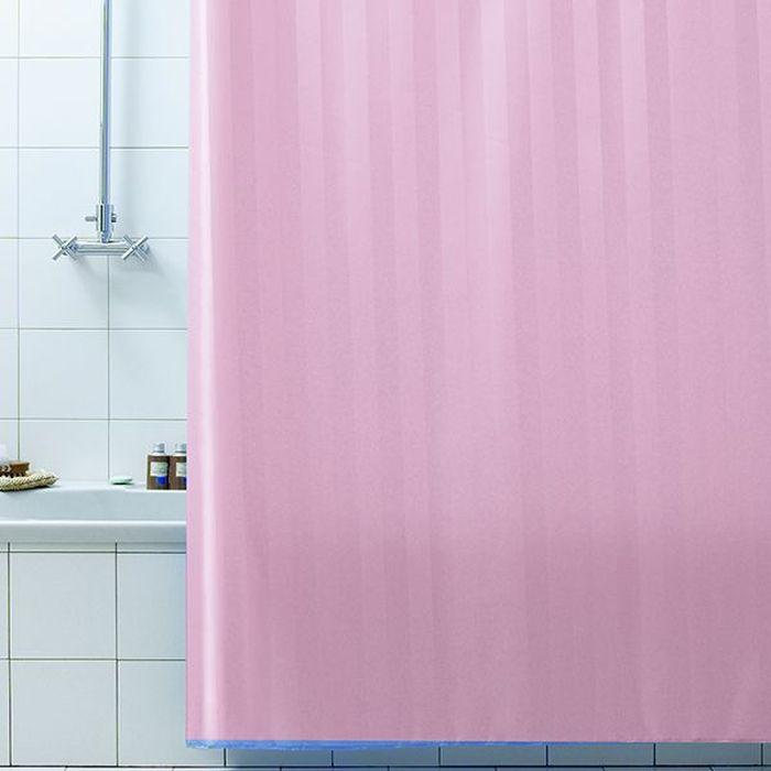 Штора для ванной Bacchetta Rigone, цвет: розовый, 240 х 200 см6043Текстильная штора для ванной Bacchetta в стильном дизайне выполнена из высококачественного полиэстера с водоотталкивающей и антибактериальной пропиткой, которая препятствует появлению на шторе плесени и других вредных грибков. Штора оснащена утяжелителем, который вшит по нижнему краю, и не позволяет шторе подниматься от потоков воздуха, создаваемых напором воды. Верхний край шторы усилен двойным подворотом ткани, люверсы для колец выполнены из пластика, это исключает появление ржавчины в помещение с повышенной влажностью, что часто встречается при использовании металлических деталей. Технология производства изделий отвечает новейшим европейским стандартам. Полотна отличаются высочайшими качественными характеристиками: высокими показателями износостойкости, цветостойкости и цветопередачи, прочности ткани на разрыв. Штора со временем не выцветает, а рисунок не вымывается. В комплекте со шторой предусмотрено 12 пластиковых колец. Допускается деликатная стирка при температуре не более 30 С, штора быстро сохнет.