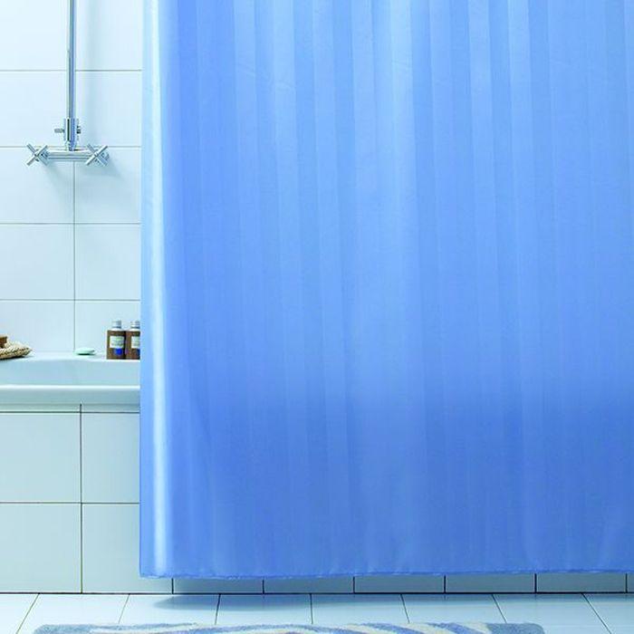 Штора для ванной Bacchetta Rigone, цвет: синий, 240 х 200 см6044Текстильная штора для ванной в универсальном дизайне от производителя с мировым именем Bacchetta. Выполнена штора из высококачественного полиэстера в белом цвете с жаккардовым рисунком, который формируется за счет изменения направления нитей, поэтому достигается эффект шелкового перелива одних элементов рисунка и матовость других. Штора имеет водоотталкивающую и антибактериальную пропитку, которая препятствует появлению на шторе плесени и других вредных грибков. Штора оснащена утяжелителем, который вшит по нижнему краю, и не позволяет шторе подниматься от потоков воздуха, создаваемых напором воды. Верхний край шторы усилен двойным подворотом ткани, люверсы для колец выполнены из пластика, это исключает появление ржавчины в помещении с повышенной влажностью, что часто встречается при использовании металлических деталей. Технология производства изделий отвечает новейшим европейским стандартам. Полотна отличаются высочайшими качественными характеристиками: высокими показателями износостойкости, цветостойкости и цветопередачи, прочности ткани на разрыв. Штора со временем не выцветает, а рисунок не вымывается. В комплекте со шторой предусмотрено 12 пластиковых колец. Допускается деликатная стирка при температуре не более 30 С, штора быстро сохнет.