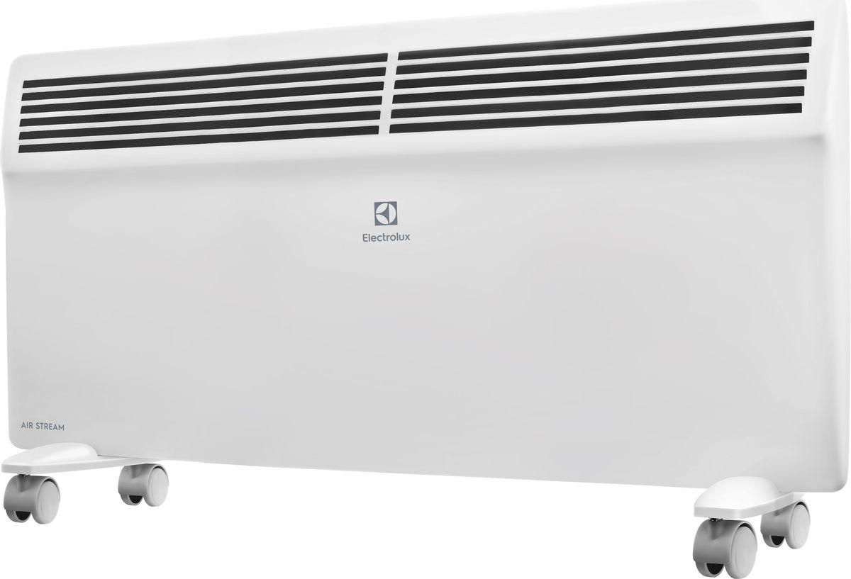 Electrolux ECH/AS-2000ER конвекторECH/AS-2000ERЭлектрический конвектор Electrolux Air Stream имеет нагревательный элемент нового поколения X-DUOS с увеличенной площадью теплоотдачи. Конвектор работает в режимах полной и половинной мощности. Класс влагозащищенности IP 24. Предусмотрена настенная и напольная установка.Нагревательный элемент X-DUOSНагревательный элемент X-DUOS, разработанный для серии AIR STREAM представляет собой цельнолитую Х-образную ребристую конструкцию, выполненную из специального сплава алюминия с применением Nano-технологий, что позволило добиться равномерной температуры по всей длине нагревательного элемента. Главная особенность нагревательного элемента заложена в специальной обработке его поверхности, на выходе структура его поверхности получается «ракушечной». Данная технология позволила увеличить площадь поверхности теплоотдачи на 25% по сравнению со стандартными монолитными нагревательными элементами.Форма X-DUOS и структура его поверхности обеспечивает максимальный теплосъем с минимальным сопротивлением потоку теплого воздуха. Это позволяет быстро обогревать помещение и значительно экономить электроэнергию (до 20%, если сравнивать с другими типами обогревателей).Монолитная конструкция нагревательного элемента X-DUOS сводит к минимуму все возможные тепловые потери, обеспечивая моментальный нагрев воздуха, тем самым демонстрируя высокий показатель надежности и более долгий срок эксплуатации прибора. Благодаря особенностям конструкции и Nano-технологиям, примененным в производстве материалов для нагревательного элемента, X-DUOS абсолютно бесшумно выходит на рабочую температуру за рекордно короткий срок — до 75 секунд.Интеллектуальное управлениеДля управления конвекторами Air Stream разработан ультрасовременный блок управления нового поколения. Логика выбора необходимой температуры нагрева воздуха и управления другими функциями обогревателя предельно проста. LED-дисплей отображает не только заданную и фактическую температуру в помещении, а та