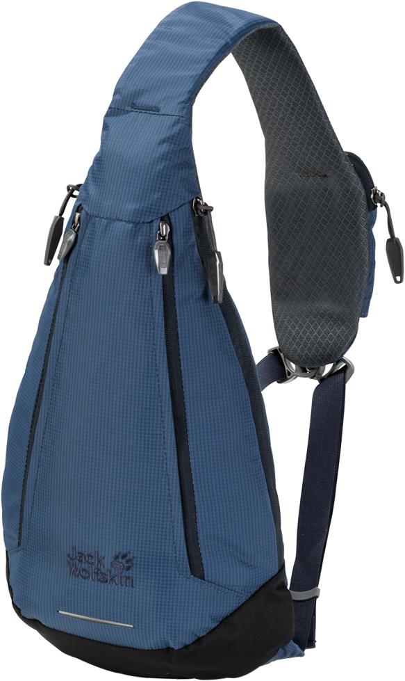 Рюкзак Jack Wolfskin Delta Bag, цвет: синий, 4 л. 2006011-15882006011-1588Рюкзак Jack Wolfskin Delta Bag - симметричная сумка-слинг для путешествий, отдыха и на каждый день. Если каждый ваш день приносит новые маршруты для прогулок - по городу, вокруг квартала или вдоль реки, сумка Delta Bag создана для вас. Симметричный трендовый рюкзак удобен тем, что его можно носить на любом плече. А молнии с обеих сторон рюкзака позволяют легко его открыть и достать все, что нужно - вне зависимости от выбранного вами способа ношения. Чтобы ваш смартфон всегда был под рукой, на ремне есть специальный карман.Рюкзак Jack Wolfskin Delta Bag позволит вам двигаться в ритме большого города. Инновационная система застежек соединяет все три ремня и не позволяет рюкзаку соскользнуть. В целях безопасности на дороге, в комплект входит складная светоотражающая деталь.