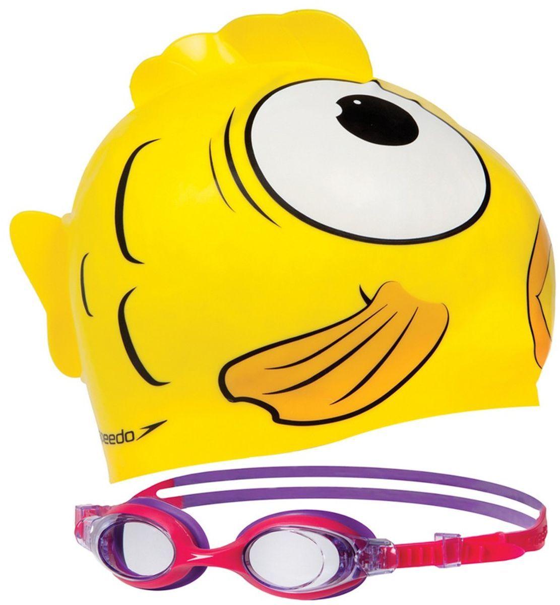 Набор для плавания Speedo Sea Squad Cap Gog Pack Ju, детский, цвет: желтый, красный, фиолетовый, 2 предмета8-093036817Набор для плавания Speedo Sea Squad Cap Gog Pack Ju будет незаменим во время плавания в бассейне и открытой воде. Линзы Widevision изготовлены из ударопрочного пластика, а внутренняя поверхность имеет покрытие AntiFog, препятствующее запотеванию линз и обеспечивающее круговой обзор и отличную видимость. Точное исполнение линз гарантирует отсутствие искажений. Технология BioFuse разработана для максимального комфорта без прогиба линз.Очки имеют защиту от ультрафиолетового излучения. Плотное прилегание очков и комфорт обеспечиваются силиконовыми наглазниками. Силиконовый ремешок можно регулировать по размеру.В набор для плавания входит силиконовая шапочка. Устойчивый к хлору материал быстро сохнет и предохраняет волокна ткани от затяжек и выцветания. Комфортная посадка без сдавливания. Удобна при надевании и использовании.
