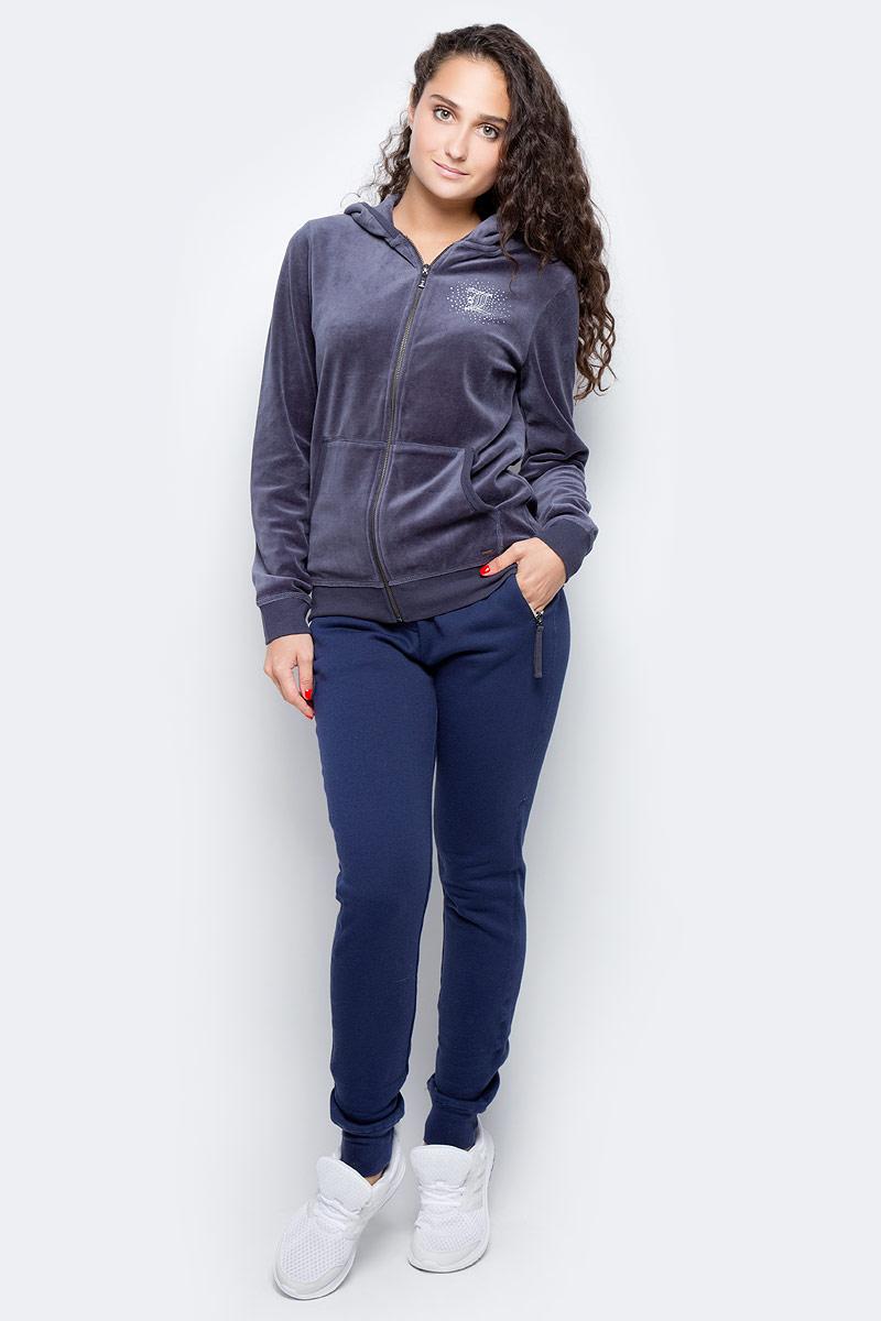 Брюки женские Luhta, цвет: темно-синий. 636708319LV. Размер M (44)636708319LVУдобные спортивные женские брюки Luhta выполнены из хлопка с добавлением полиэстера. Пояс дополнен эластичной резинкой и шнурком. По бокам брюки оформлены прорезными карманами на застежках-молниях и дополнены имитированной ширинкой. Низ изделия оформлен трикотажными резинками.