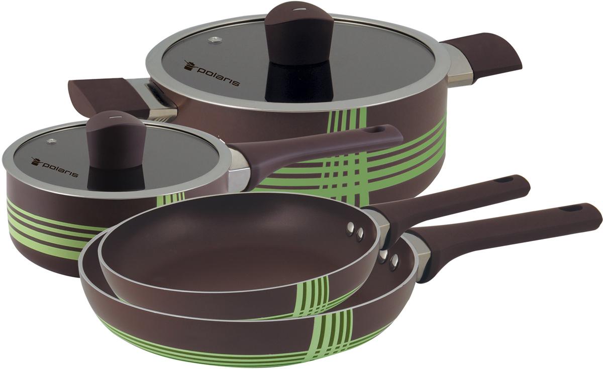 Набор посуды Polaris AL-06S, с антипригарным покрытием, 6 предметовAL-06SНабор посуды Polaris AL-06S с антипригарным покрытием, состоящий из кастрюли, ковша и двух сковородок, отлично подойдет для приготовления низкокалорийных блюд без добавления масла или жира на любых типах поверхностей плит, за исключением индукционных панелей. Предметы изготовлены из высококачественного алюминия, что обеспечивает длительный срок эксплуатации. Кастрюля и ковш оснащены крышками из жаропрочного стекла с отверстием для выпуска пара. Эргономичные ручки с покрытием Soft Touch не нагреваются и не скользят.В наборе:- Сковорода диаметром 20 см (без крышки);- Сковорода диаметром 26 см (без крышки);- Кастрюля диаметром 20 см и объемом 2,8 л (с крышкой);- Ковш диаметром 16 см и объемом 1,4 л (с крышкой).