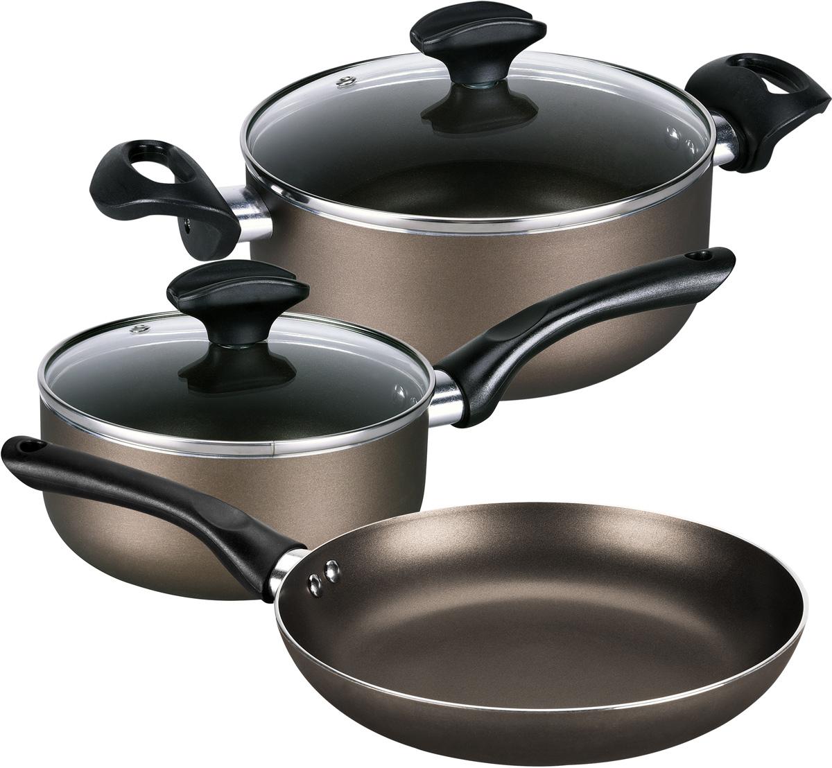 Набор посуды Polaris Cher-05S, с антипригарным покрытием, 5 предметовCher-05SНабор посуды Polaris Cher-05S с антипригарным покрытием, состоящий из кастрюли, ковша и сковороды, отлично подойдет для приготовления низкокалорийных блюд без добавления масла или жира на любых типах поверхностей плит, за исключением индукционных панелей. Предметы изготовлены из высококачественного алюминия, что обеспечивает длительный срок эксплуатации. Кастрюля и ковш оснащены крышками из жаропрочного стекла с отверстием для выпуска пара. Эргономичные ручки с покрытием Soft Touch не нагреваются и не скользят.В наборе:- Сковорода диаметром 24 см (без крышки);- Кастрюля объемом 2,8 л (с крышкой);- Ковш объемом 1,4 л (с крышкой).