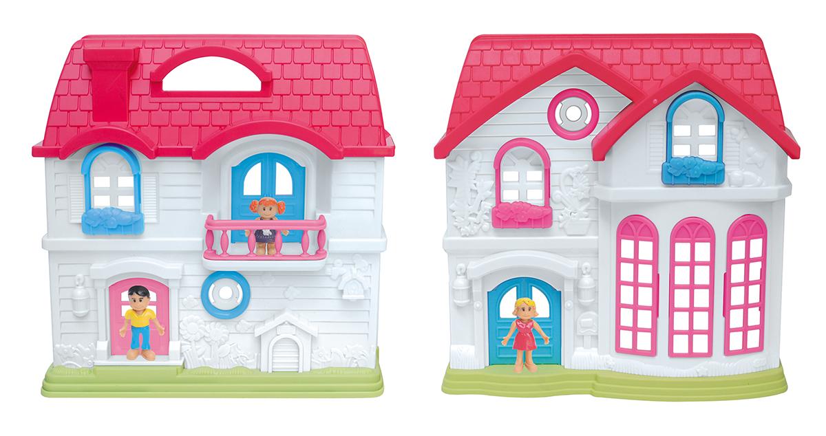 EstaBella Кукольный домик Солнечный городок улица Цветочная дом 2 с парадным залом цвет красный кукол домик
