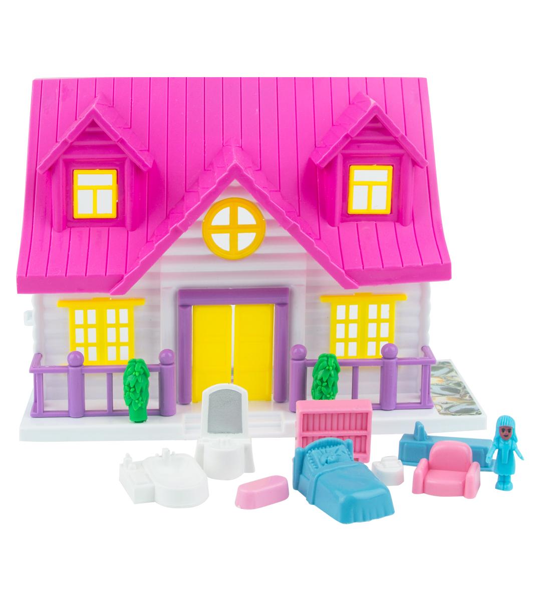EstaBella Кукольный домик Солнечный городок улица Зеленая дом 4 с лестницей цвет розовый кукольный домик лего 10505 купить