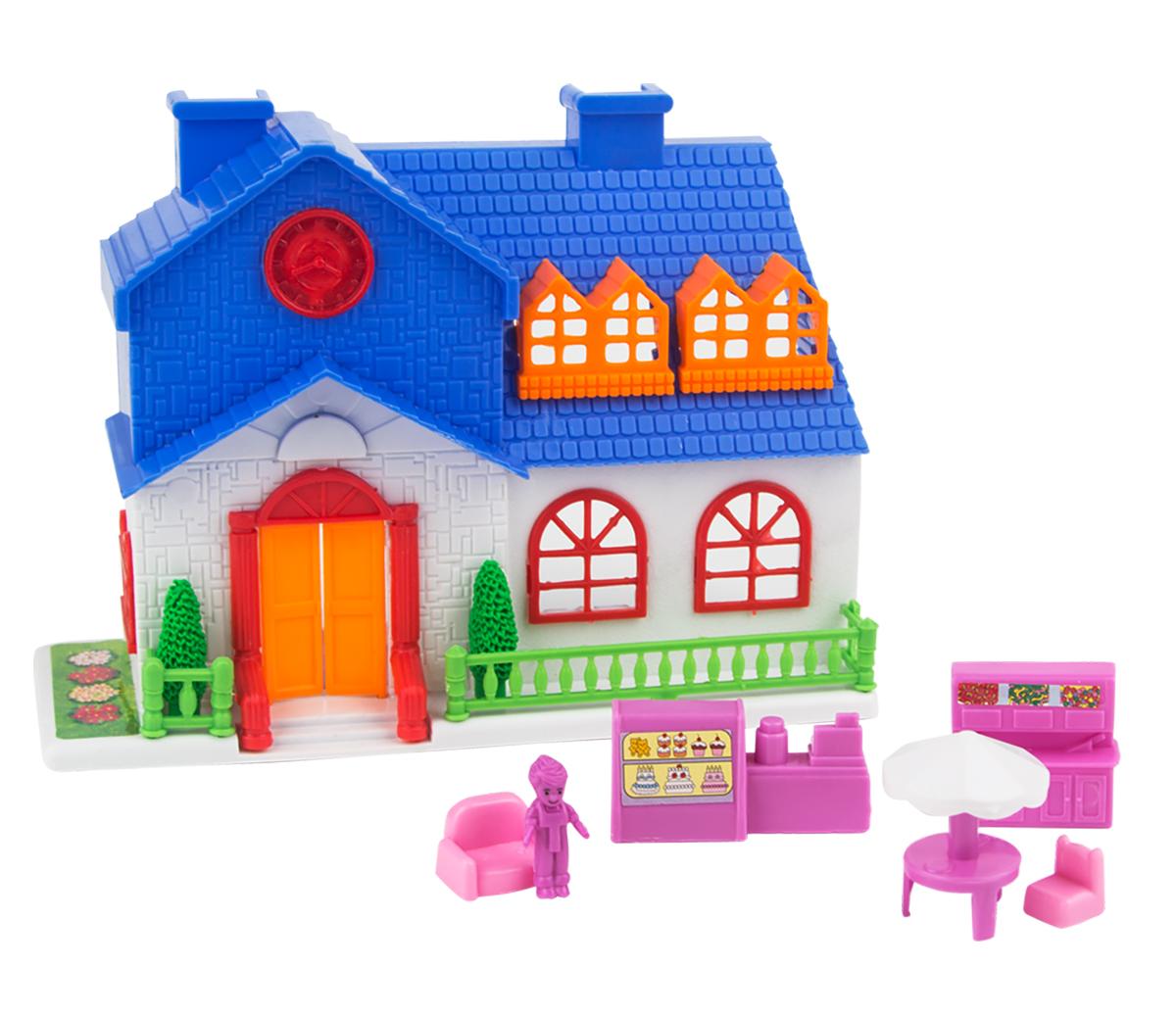 EstaBella Кукольный домик Солнечный городок улица Зеленая дом 1 с террасой цвет синий