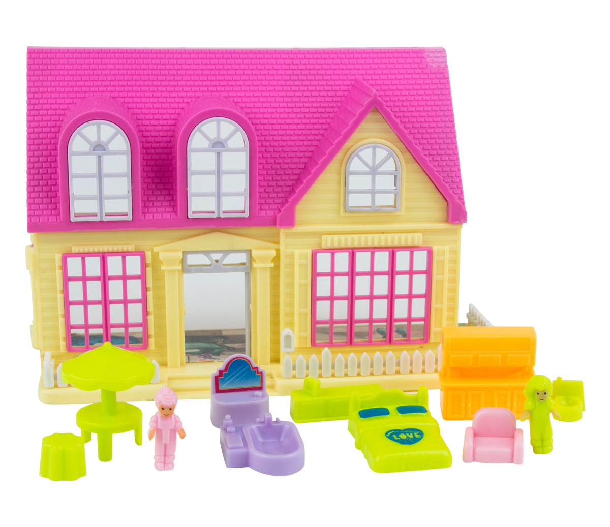 EstaBella Кукольный домик Солнечный городок улица Зеленая дом 2 с мебелью цвет желтый кукольный домик лего 10505 купить