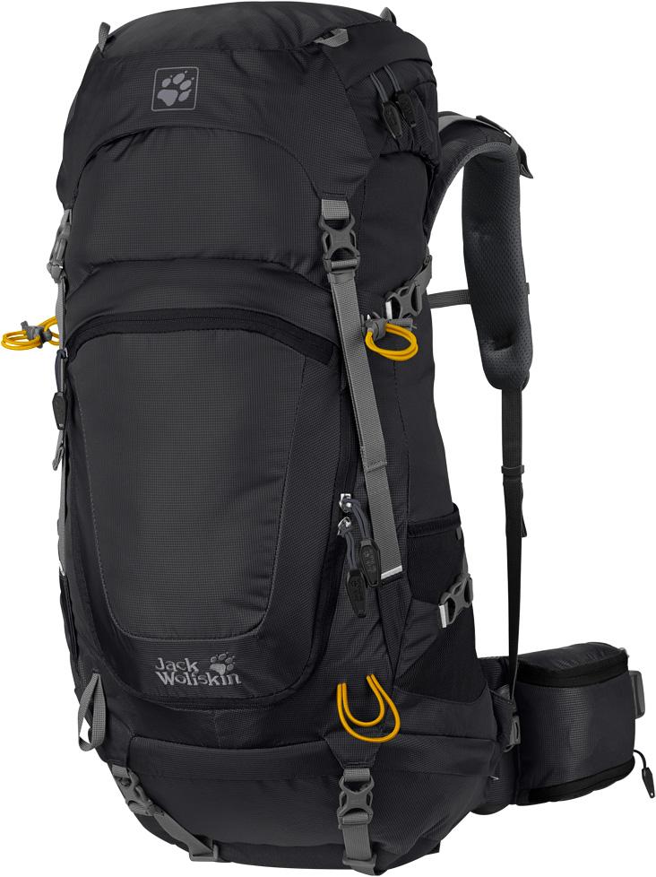 Рюкзак туристический Jack Wolfskin Highland Trail 48, цвет: черный, 48 л. 2004611-60002004611-6000Небольшой вместительный рюкзак Jack Wolfskin Highland Trail 48 для хайкинга с отличной вентиляцией - для длительных походов. Рюкзак Highland Trail 48 идеально подходит для длительных походов в предгорьях Альп и по низкогорной местности в целом. Объем в 48 литров позволяет ему легко вместить все ваше снаряжение, от флисовой куртки до спального мешка.Эргономичная система подвески Ergo X-Transition (Эрго Экс-Транзишн) обеспечивает оптимальную подвижность и комфорт. Даже при полной нагрузке, вы почти не почувствуете вес благодаря его равномерному распределению. Система также обеспечит вам особую подвижность, необходимую при перешагивании валунов или поваленных деревьев.Непромокаемая куртка от непогоды, сменная одежда, бутылка с водой - в рюкзаке Highland Trail 48 вы легко найдете место для всего вашего снаряжения. Сменная одежда и запасы запросто поместятся в просторном основном отделении. А широко открываемая молния спереди позволит вам легко достать вещи из середины рюкзака. Внутри имеется специальный внутренний карман для питьевой системы. Как вариант, в удобном складном кармане на поясе бутылка с водой всегда будет под рукой. Важные мелочи можно сложить в отделение в клапане, откуда их всегда легко достать.