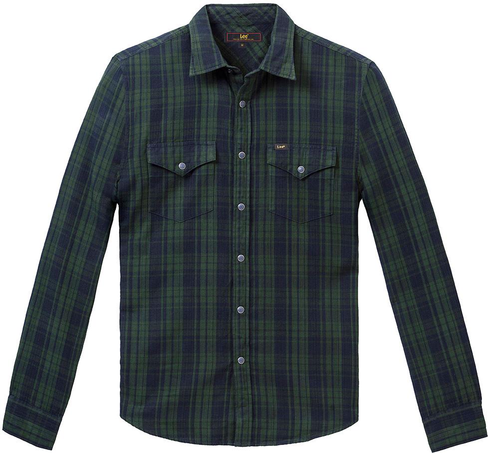Рубашка мужская Lee, цвет: зеленый. L644CUDF. Размер XXL (54) рубашка мужская lee cooper цвет темно зеленый lchmw044 размер xxl 54