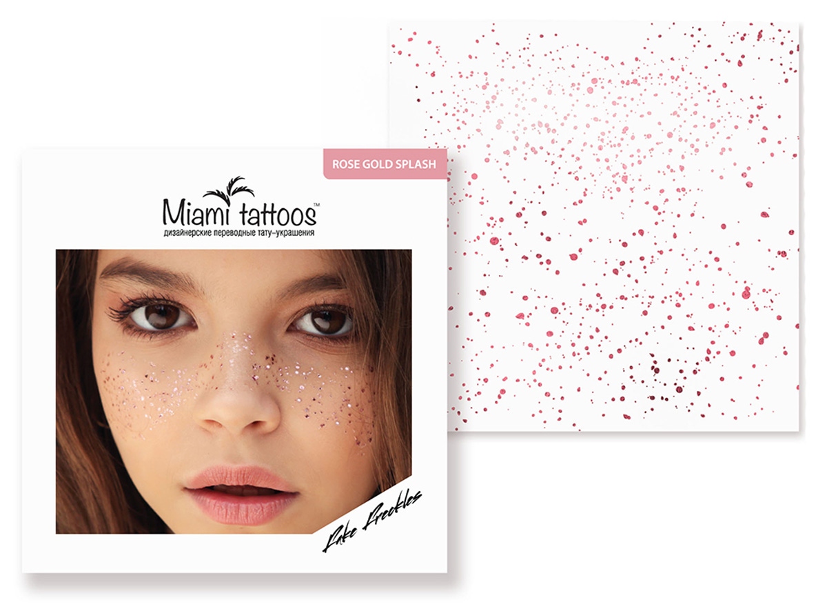 Miami Tattoos Переводные тату-веснушки Rose Gold Splash, 1 лист, 10 х 10 см бодиарт other gold placement temporary tattoos asos