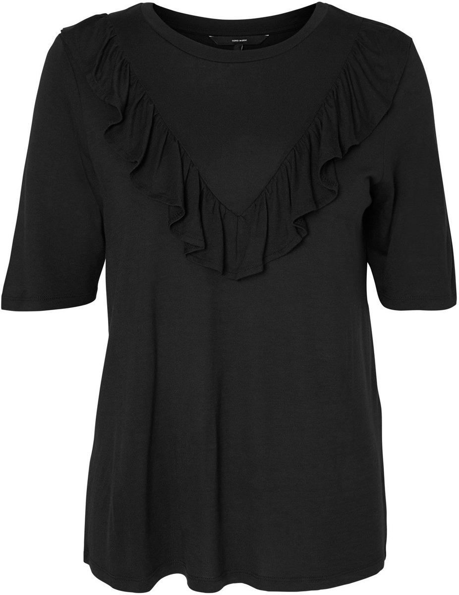 Блузка женская Vero Moda, цвет: черный. 10183686_Black. Размер S (42/44)10183686_BlackБлузка женская Vero Moda с короткими рукавами и круглым вырезом горловины спереди оформлена оборкой.