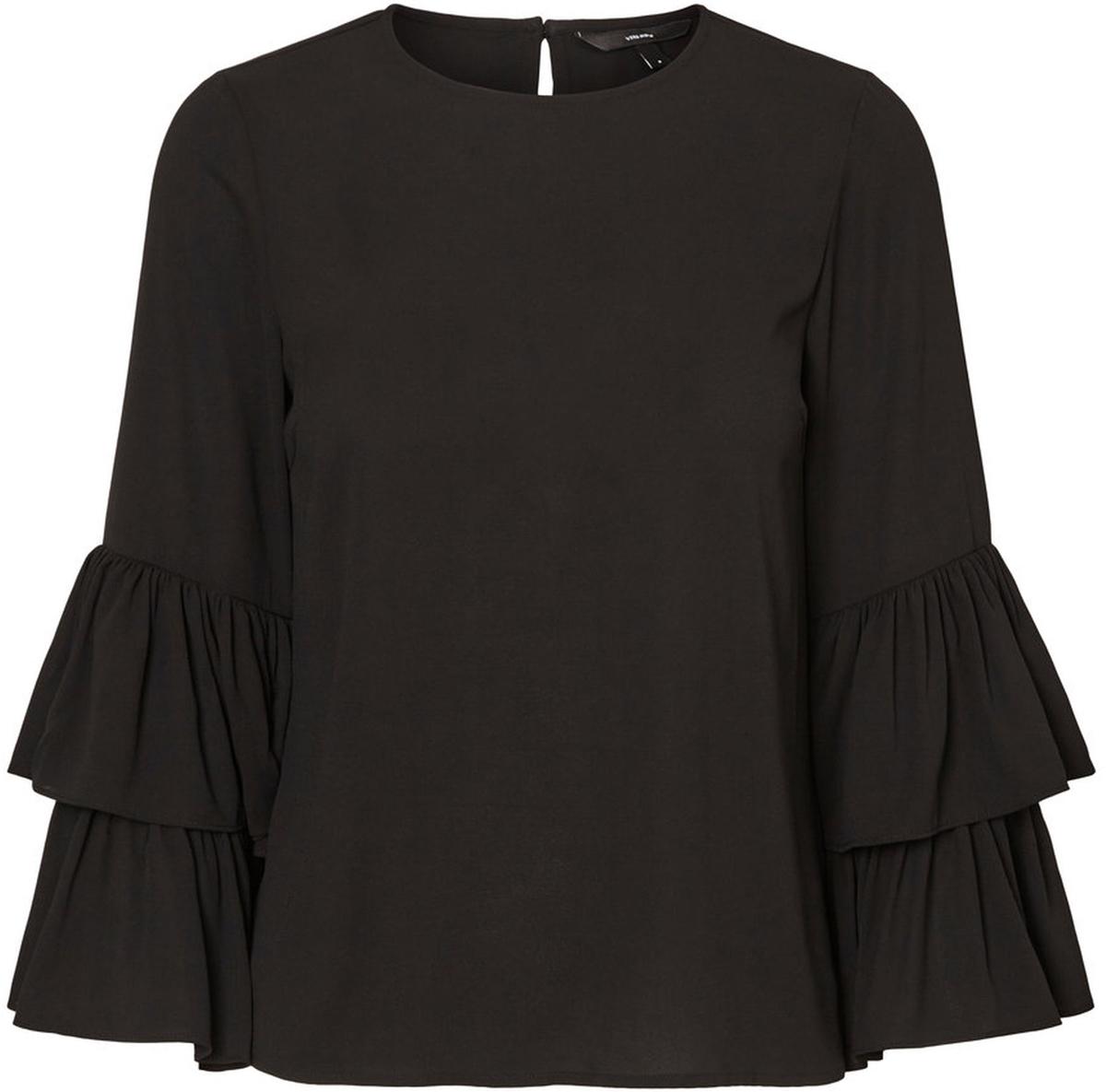 Блузка женская Vero Moda, цвет: черный. 10186367_Black. Размер M (46)10186367_BlackЖенская блузка с круглым вырезом горловины сзади застегивается на пуговицу.