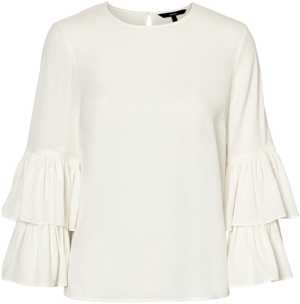 Блузка женская Vero Moda, цвет: белый. 10186367_Snow White. Размер XL (50/52)10186367_Snow WhiteЖенская блузка с круглым вырезом горловины сзади застегивается на пуговицу.