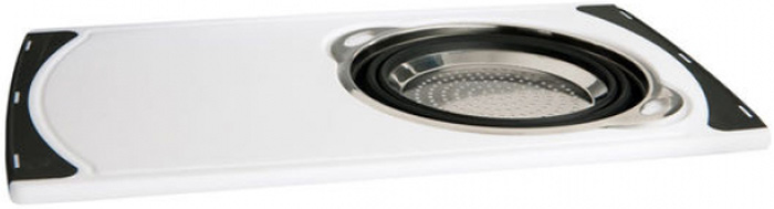 Доска G W International, со встроенным дуршлагомP240Доска G W Internationalсо встроенным дуршлагом - находка для кухни.Экономия времени и чистота.Удобно хранить, удобно мыть!Товар изготовлен из высококачественного материала.
