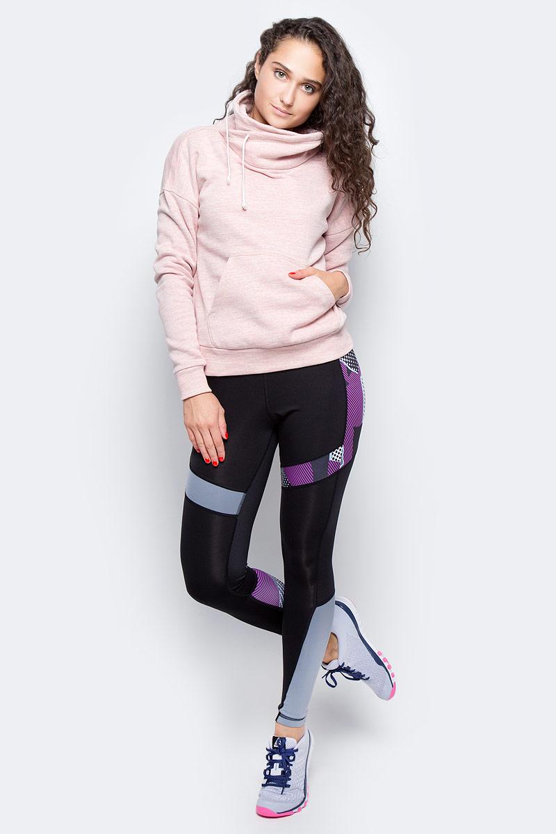 Худи женское Reebok El Marble Bb Cowl, цвет: розовый. BR5269. Размер XL (52/54)BR5269Худи женское Reebok изготовлено из натурального хлопка с добавлением полиэстера. Оригинальный воротник затягивается на прочный шнурок. Спереди худи дополнено карманом кенгуру. Низ изделия и рукава дополнены эластичными манжетами.