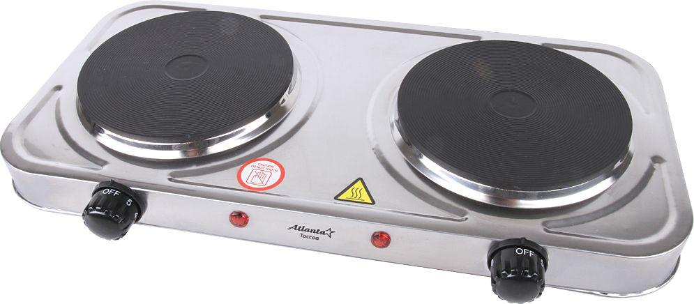 Atlanta ATH-1738, Silver плита электрическаяATH-1738 silverНадежная, простая в управлении электробытовая настольная плита Atlanta ATH-1738 - находка для дачников и тех, кто хочет в значительной степени сэкономить пространство на кухне.Представленная модель отличается быстротой нагрева. Управление осуществляется путем поворота механического переключателя - с его помощью можно выбрать оптимальную температуру или включить/отключить прибор.Данная плитка оснащена небольшими индикаторами, указывающими на включенное состояние. Электроплитка не требует много места при хранении и предельно проста в подключении - идеальный вариант для транспортировки и стационарного использования.