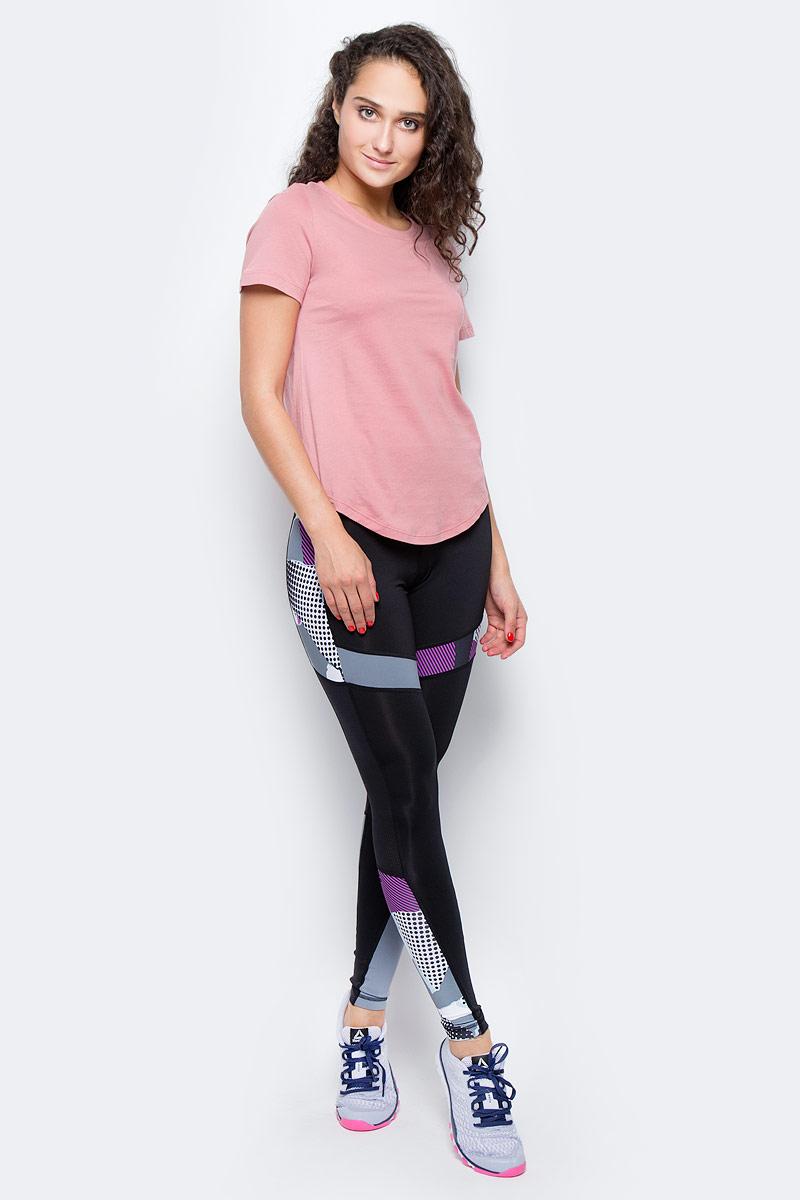 Футболка для бега женская Reebok El Eletee, цвет: розовый. BQ5981. Размер S (42/44)BQ5981Женская футболка Reebok с круглым глубоким вырезом и короткими рукавами, выполнена из натурального хлопка. Облегающий крой футболки повторяет каждое движение.