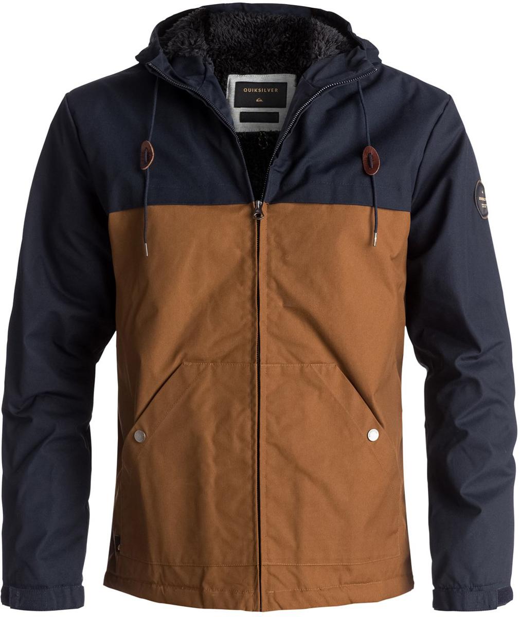 Куртка мужская Quiksilver Wanna, цвет: темно-синий, песочный. EQYJK03361-BYJ0. Размер M (48) quiksilver куртка утепленная мужская quiksilver mission