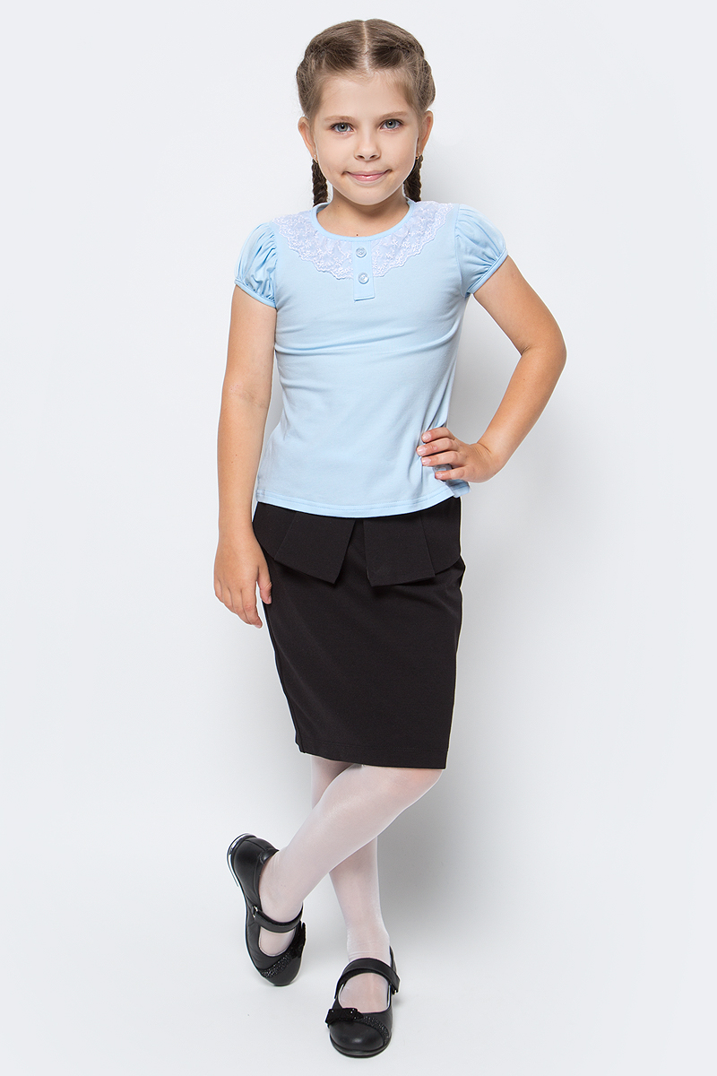 Блузка для девочки Nota Bene, цвет: голубой. CJR27032B10. Размер 158CJR27032A10/CJR27032B10Блузка для девочки Nota Bene выполнена из хлопкового трикотажа с кружевной отделкой. Модель с короткими рукавами и круглым вырезом горловины.