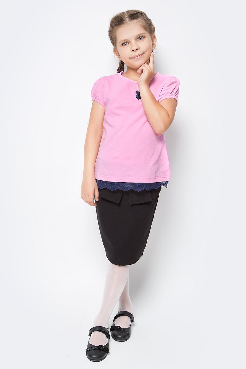 Блузка для девочки Nota Bene, цвет: розовый. SJR27048A05. Размер 134SJR27048A05Блузка для девочки Nota Bene выполнена из хлопкового трикотажа с кружевной тесьмой. Модель с короткими рукавами-фонариками и круглым вырезом горловины.