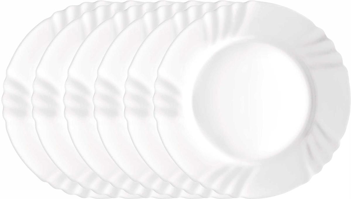 Набор тарелок Bormioli Rocco Эбро Динер, цвет: белый, диаметр 24 см, 6 шт. 402810FN9321990402810FN9321990