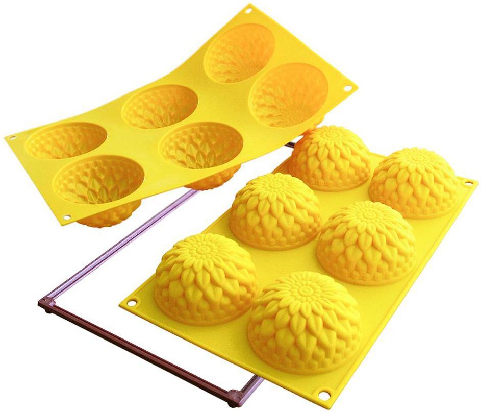 Форма для выпечки Silikomart  Георгины , 6 шт., диаметр: 78 мм, высота: 40 мм, силикон - Посуда для приготовления