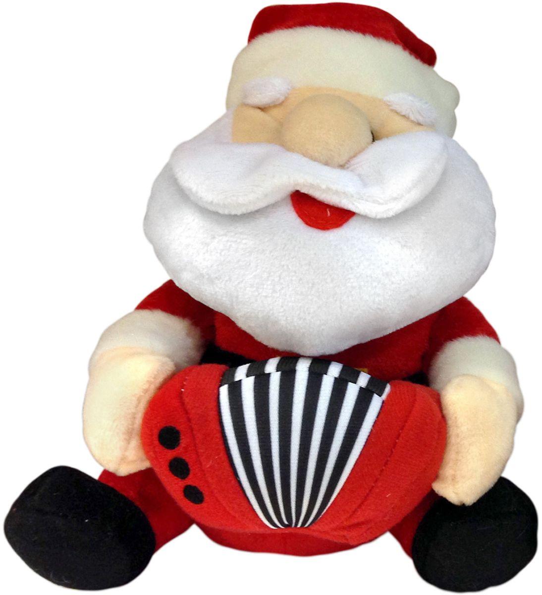 Lapa House Мягкая озвученная игрушка Санта с гармонью 21 см