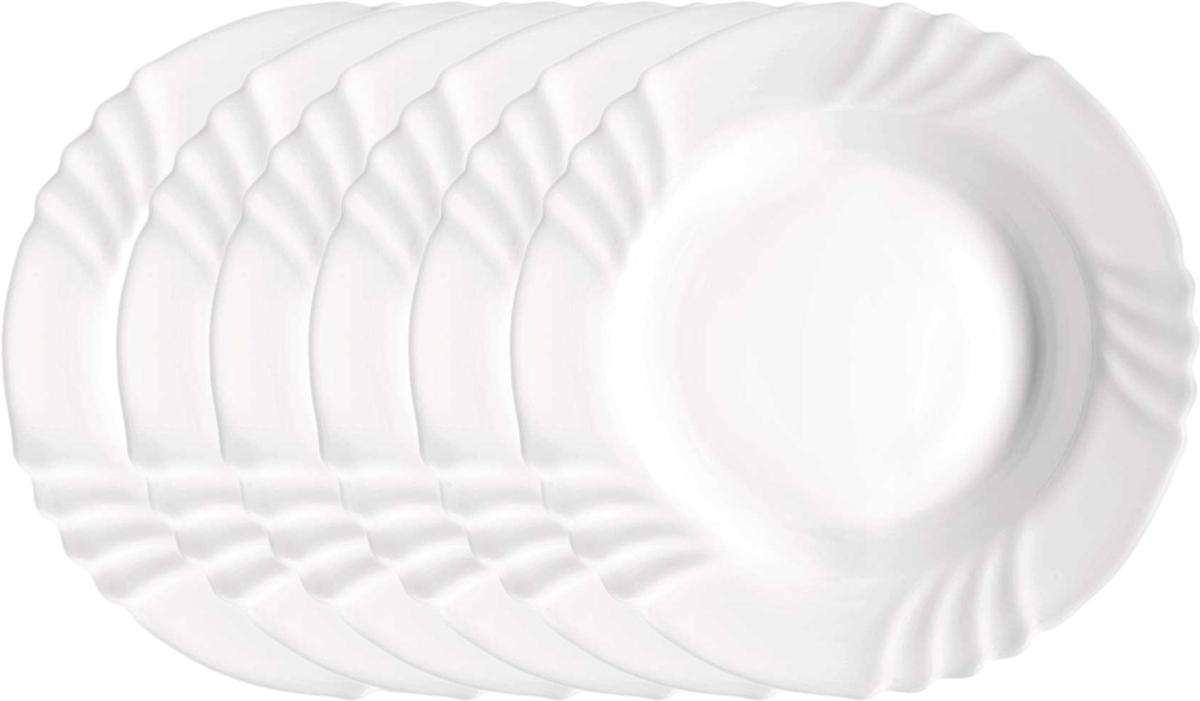 Набор тарелок Bormioli Rocco Эбро Суп, цвет: белый, диаметр 23 см, 6 шт. 402811FN9321990402811FN9321990