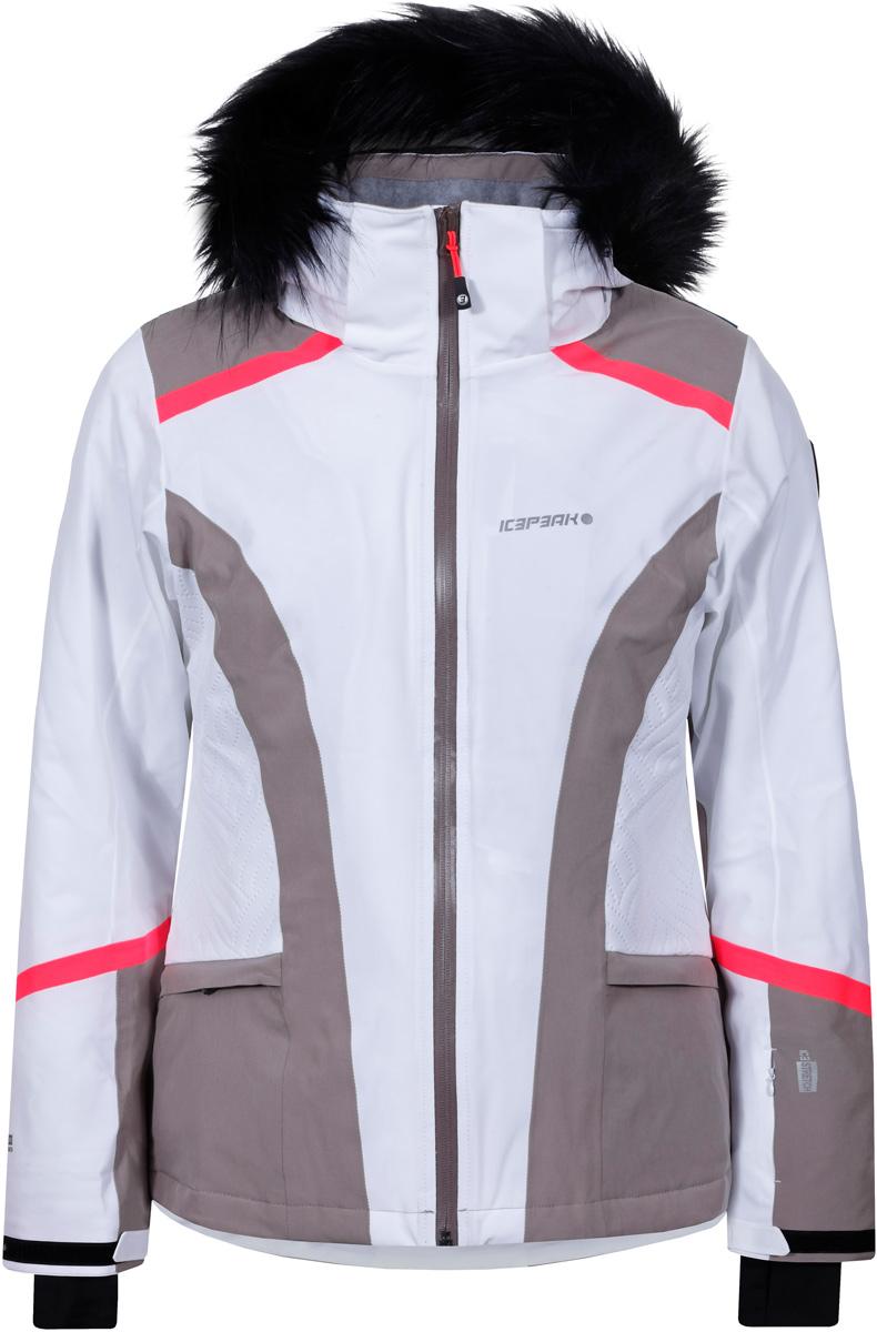 Куртка женская Icepeak Nickan, цвет: белый, серый. 853113535IV_980. Размер 36 (42)853113535IV_980Спортивная куртка от Icepeak выполнена из высокотехнологичной, стрейтчевой ткани с мембраной 10000/5000 и утеплена синтетическим утеплителем с плотностью 120гр/м2. Модель с капюшоном и воротником стойкой застегивается на молнию. Куртка оснащена снегозащитной юбкой. Рукава дополнены внутренними эластичными манжетами с прорезью для пальца. Спереди расположены два кармана на застежках-молниях, есть кармана для скипаса.