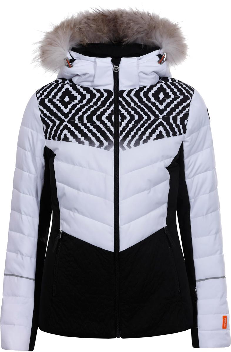 Куртка жен Icepeak, цвет: белый. 853202513IVA_980. Размер 42 (48)853202513IVA_980Куртка женская Icepeak выполнена из полиэстера. Модель с длинными рукавами и капюшоном застегивается на застежку-молнию.