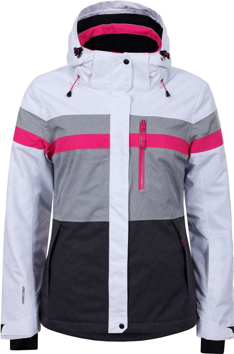 Куртка женская Icepeak, цвет: белый. 853228659IV_980. Размер 40 (46)853228659IV_980Куртка женская Icepeak выполнена из полиэстера. Модель с длинными рукавами и капюшоном застегивается на застежку-молнию и кнопки.