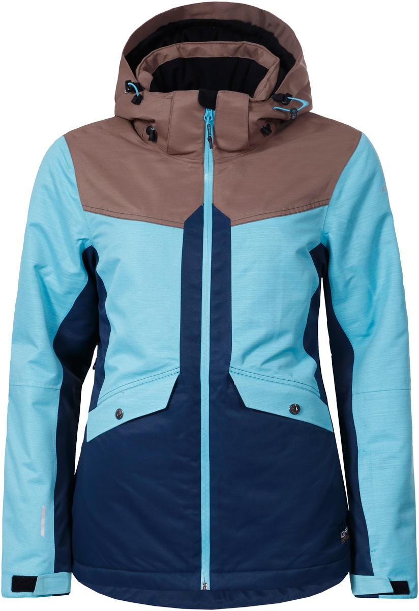 Куртка женская Icepeak Katlyn, цвет: голубой, темно-синий, коричневый. 853229576IV_325. Размер 40 (46)853229576IV_325Горнолыжная куртка Icepeak выполнена из плотного текстиля с технологией Icetech 10000. Материал обладает дышащим свойством, при этом надежно защищает от ветра и влаги даже в экстремальных условиях. Модель со съемным капюшоном на кулиске спереди застегивается на молнию с внутренним ветрозащитным клапаном. Куртка оснащена снего- и ветрозащитной юбкой. Рукава дополнены эластичными внутренними манжетами. Модель приталенного силуэта, снабжена светоотражающими элементами. Спереди расположены два кармана на молнии с клапанами на кнопках, имеется два внутренних кармана.