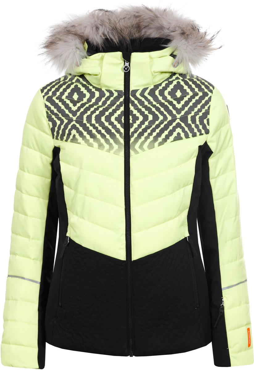Куртка женская Icepeak, цвет: зеленый. 853202513IVA_501. Размер 42 (48)853202513IVA_501Куртка женская Icepeak выполнена из полиэстера. Модель с длинными рукавами и капюшоном застегивается на застежку-молнию.