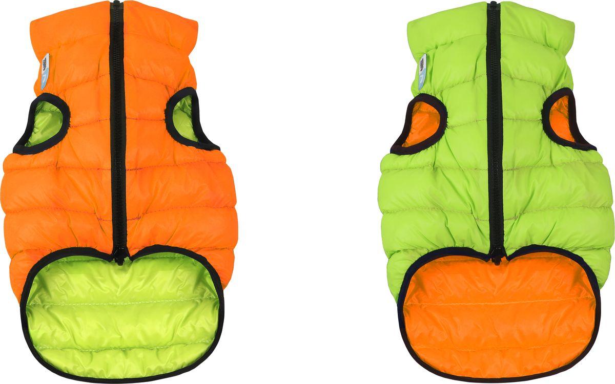 Куртка для собак AiryVest, двухсторонняя, унисекс, цвет: оранжевый, салатовый. Размер S (35)1602Куртка для собак AiryVest - самая легкая в мире курточка для собак. Она теплая, удобная, стильная и... двусторонняя! Ее современный минималистичный дизайн выполнен в спортивном стиле, сочетающем эстетику и функциональность.Куртка отлично сидит на собаке, не закрывает задние ноги и живот.AiryVest - мультисезонная одежда. Прекрасно подходит для холодной весны, сухой осени и мягкой зимы. Основные преимущества: Ультралегкая. Вес курточки малого размера менее 50 грамм.Стильный дизайн. Двусторонняя. Два цвета в одной курточке. Сумочка для хранения и транспортировки. Легко надевается благодаря специальной конструкции молнии (застегивается сверху вниз). Широкий размерный ряд. 9 размеров для всех популярных пород собак.Одежда для собак: нужна ли она и как её выбрать. Статья OZON Гид