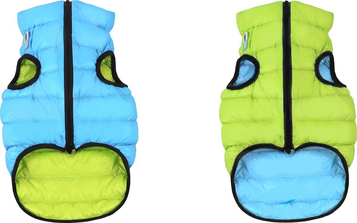 Куртка для собак AiryVest, двухсторонняя, унисекс, цвет: салатовый, голубой. Размер (М 45)1620Куртка для собак AiryVest - самая легкая в мире курточка для собак. Она теплая, удобная, стильная и... двусторонняя! Ее современный минималистичный дизайн выполнен в спортивном стиле, сочетающем эстетику и функциональность.Куртка отлично сидит на собаке, не закрывает задние ноги и живот.AiryVest - мультисезонная одежда. Прекрасно подходит для холодной весны, сухой осени и мягкой зимы. Основные преимущества: Ультралегкая. Вес курточки малого размера менее 50 грамм.Стильный дизайн. Двусторонняя. Два цвета в одной курточке. Сумочка для хранения и транспортировки. Легко надевается благодаря специальной конструкции молнии (застегивается сверху вниз). Широкий размерный ряд. 9 размеров для всех популярных пород собак.Одежда для собак: нужна ли она и как её выбрать. Статья OZON Гид