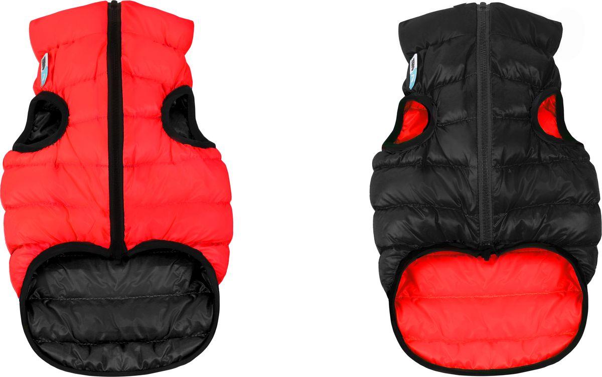Куртка для собак AiryVest, двухсторонняя, унисекс, цвет: красный, черный. Размер M (47)1873Куртка для собак AiryVest - самая легкая в мире курточка для собак. Она теплая, удобная, стильная и... двусторонняя! Ее современный минималистичный дизайн выполнен в спортивном стиле, сочетающем эстетику и функциональность.Куртка отлично сидит на собаке, не закрывает задние ноги и живот.AiryVest - мультисезонная одежда. Прекрасно подходит для холодной весны, сухой осени и мягкой зимы. Основные преимущества: Ультралегкая. Вес курточки малого размера менее 50 грамм.Стильный дизайн. Двусторонняя. Два цвета в одной курточке. Сумочка для хранения и транспортировки. Легко надевается благодаря специальной конструкции молнии (застегивается сверху вниз). Широкий размерный ряд. 9 размеров для всех популярных пород собак.Одежда для собак: нужна ли она и как её выбрать. Статья OZON Гид
