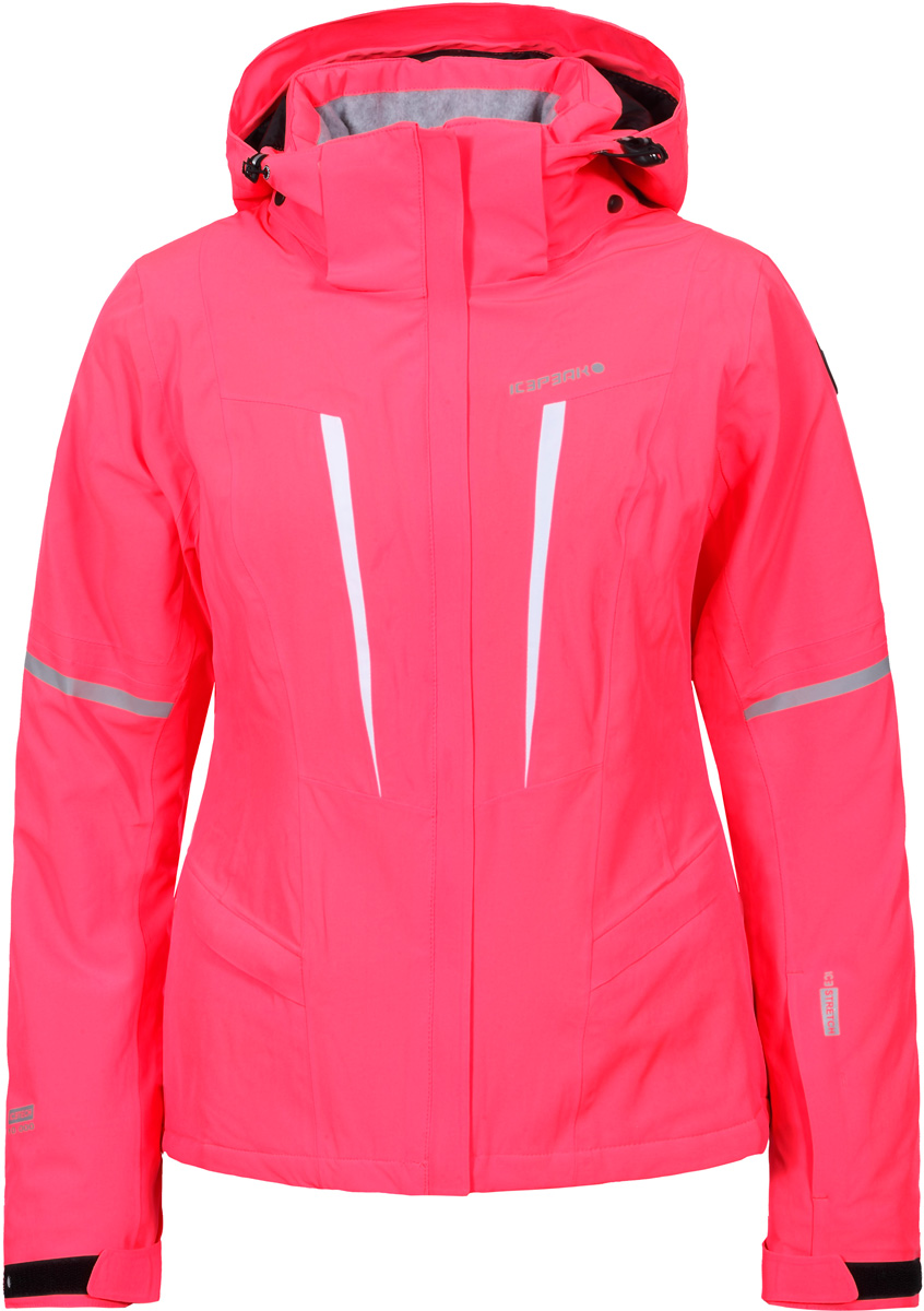 Куртка жен Icepeak, цвет: красный. 853108535IV_635. Размер 36 (42)853108535IV_635Горнолыжная куртка от Icepeak выполнена из водонепроницаемого и ветрозащитного материала. Модель с длинными рукавами и съемным капюшоном застегивается на молнию. Рукава по низу дополнены хлястиками на липучках. Куртка дополнена прорезными карманами на молниях и внутренним сетчатым кармашком.