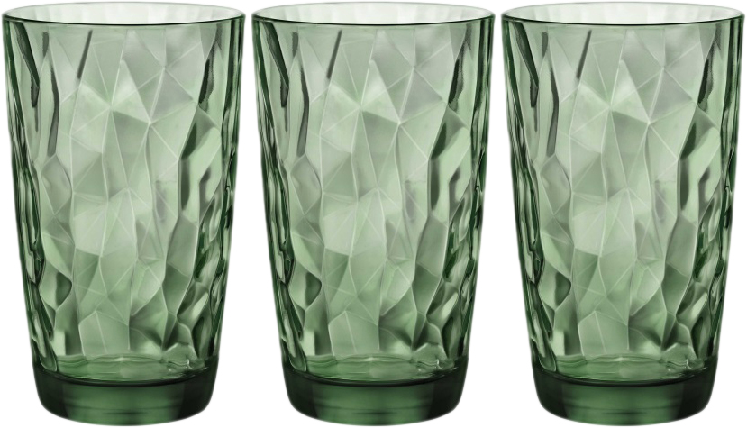 Набор стаканов Bormioli Rocco Даймонд Кулер , цвет: зеленый, 3 шт. 350250Q02021990350250Q02021990