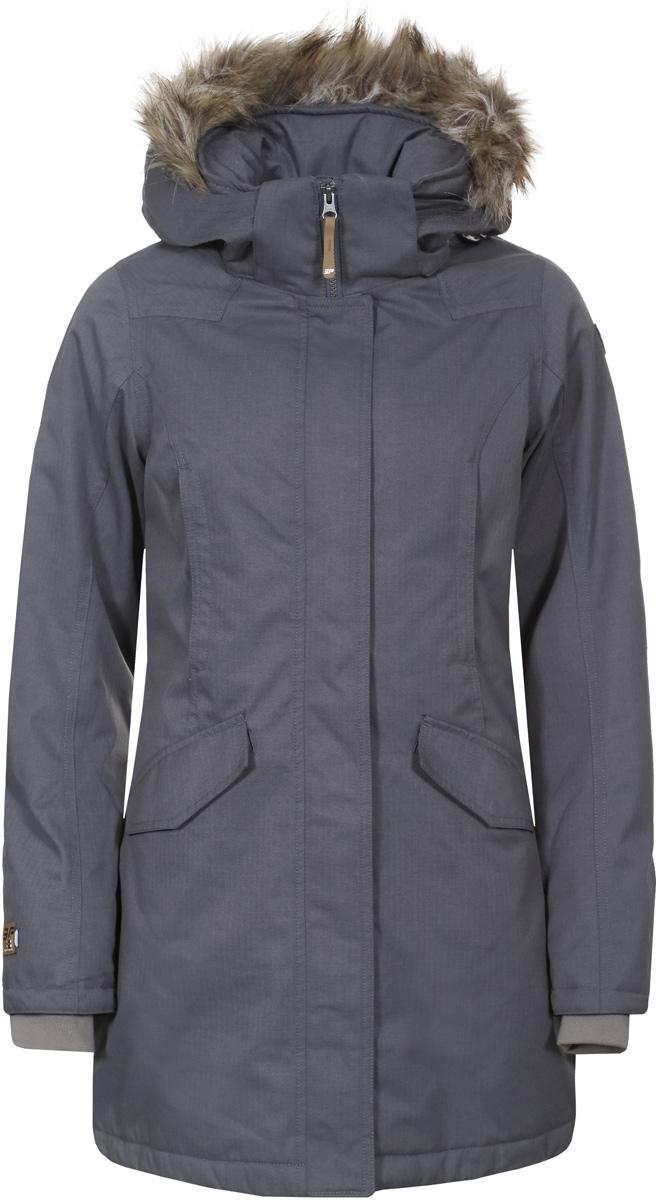 Куртка женская Icepeak, цвет: серый. 853042592IV_817. Размер 38 (44)853042592IV_817Куртка женская Icepeak выполнена из полиэстера. Модель с длинными рукавами и капюшоном застегивается на молнию и кнопки.