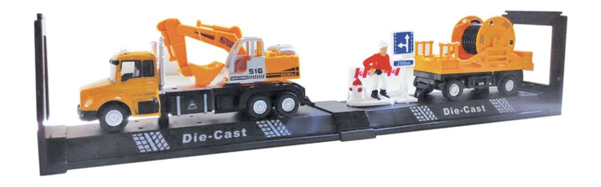 Autotime Машинка с прицепом и аксессуарами Construction Truck Set autotime набор машинок recovery truck long эвакуатор с прицепом